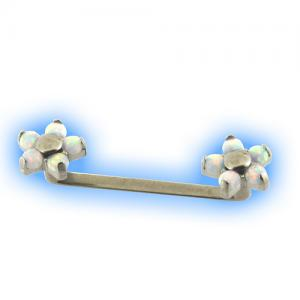 Internally threaded Titanium Surface Bar with Opal Flowers