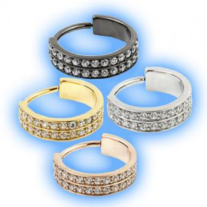 Hinged Conch Ring with double row of pave gems