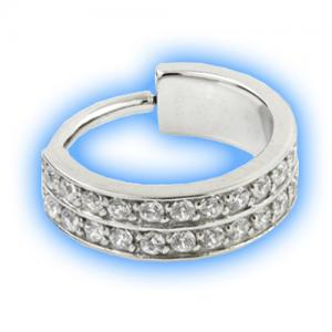 Steel double pave gem set hinged conch ring