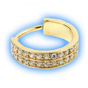 Gold double pave gem set hinged conch ring