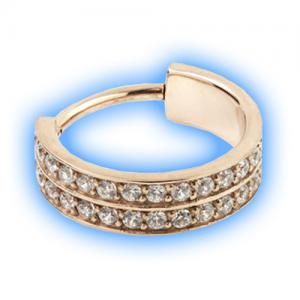 Rose Gold double pave gem set hinged conch ring