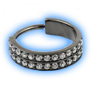 Black PVD double pave gem set hinged conch ring
