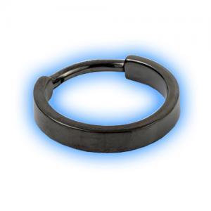 Black PVD Hinged Flat Conch Ring