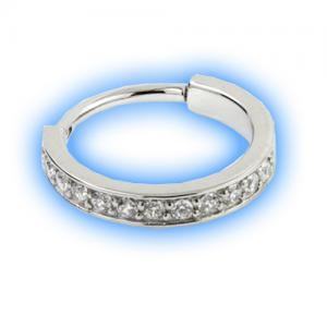 Steel Hinged Jewelled Conch Ring