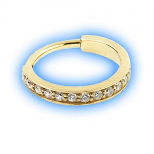Gold PVD Hinged Jewelled Conch Ring