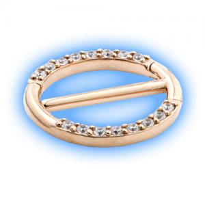 Rose Gold PVD double nipple clicker - jewelled