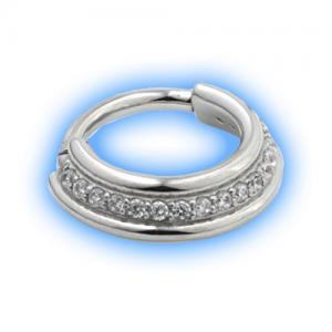 Staggered hinged jewelled segment ring - steel