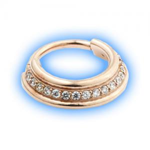 Staggered hinged jewelled segment ring - rose gold