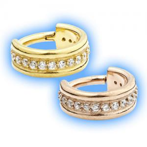 Gem set gold hinged segment ring