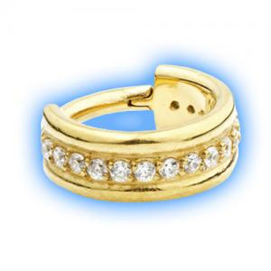Gem set gold hinged segment ring - gold