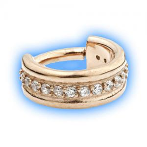 Gem set gold hinged segment ring - rose gold