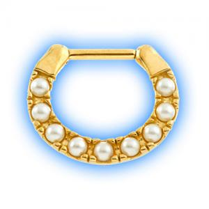 Gold PVD Pearl septum ring