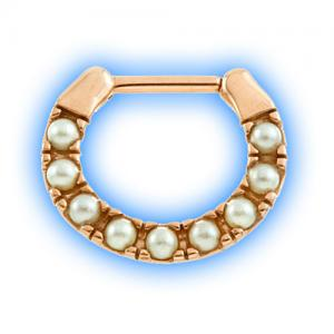 Rose Gold PVD Pearl septum ring