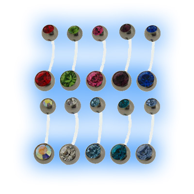 fashion design on feet at differently Swarovski Double Jewelled Bioplast Belly Bar - 27 Jewel Colours