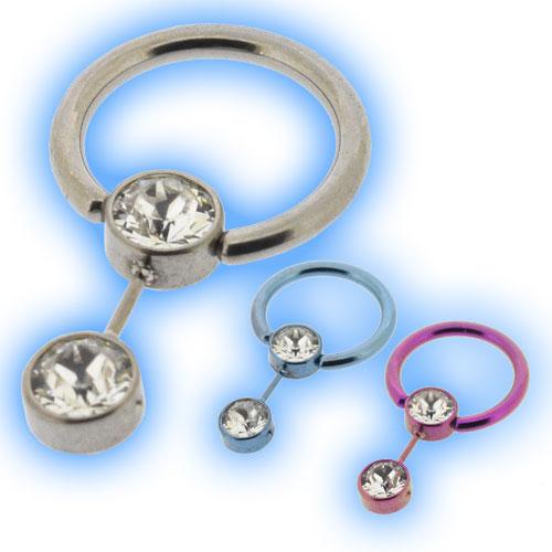 1 2mm 16g Titanium Flat Back Ball Closure Ring Double Jewel Smiley