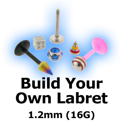 Build Your Own Body Piercing Labret Stud 12mm 16g