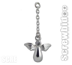 Angel Dangling Belly Bar Charm