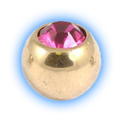 Jewelled Gold PVD Titanium Ball for 1.2mm 16 gauge body jewellery