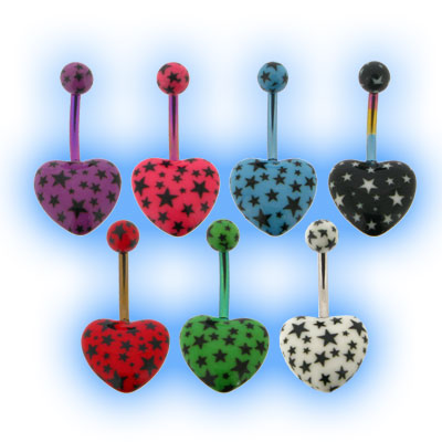 Heart Belly Bar with Star Print