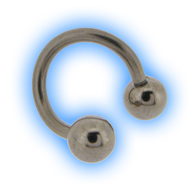 Steel Eyebrow Spiral Twister With Balls - 1mm (18 gauge)