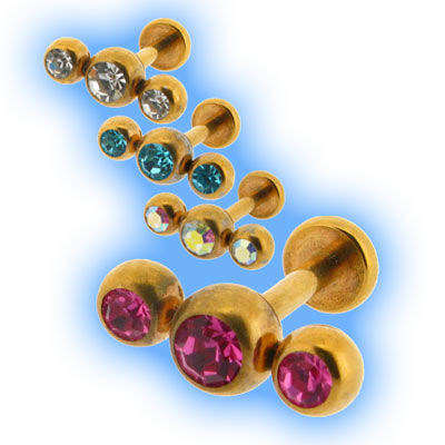 Gold Plated triple gem labret
