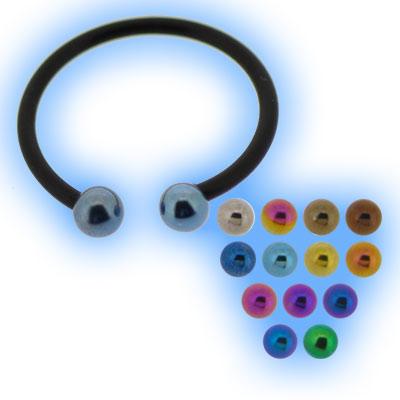 Black Bioflex Circular Barbell 1.2mm (16 gauge) - Titanium Balls