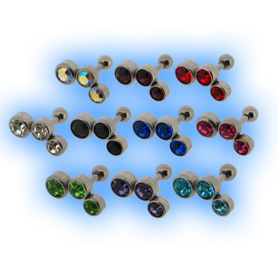 Upper Ear Stud Tragus Bar Encased Gem Trio