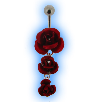 Belly Bar with 3 Dangling Red Roses