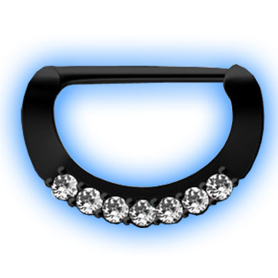 Black PVD Nipple Clicker with Clear Gems