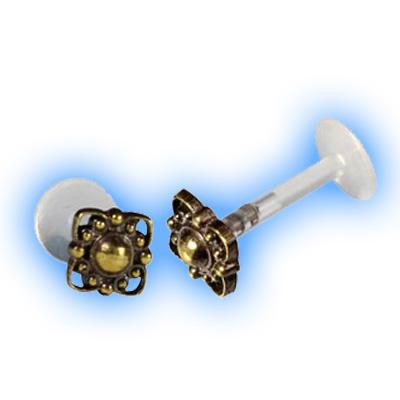Bioflex Push Fit Labret - Dotty ornate brass end