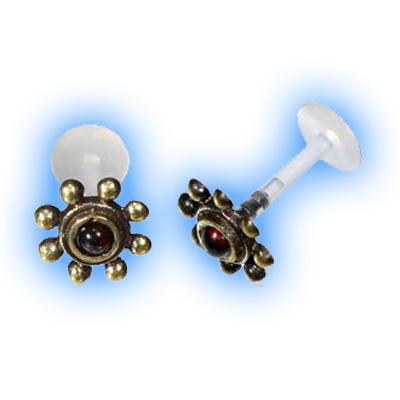 Bioflex Push Fit Labret - Garnet gem brass end
