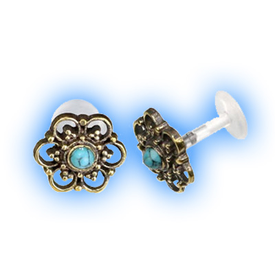 Bioflex Push Fit Labret - Turquoise stone brass end