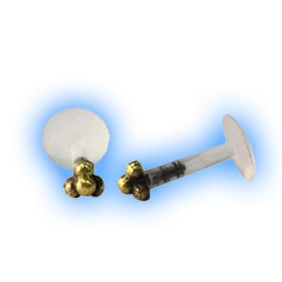 Bioflex Push Fit Labret - Small ornate brass end