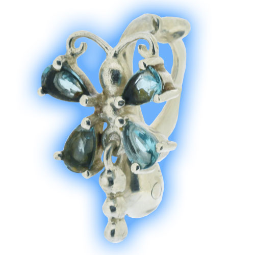 Limited Edition Fake Belly Ring - Aqua Dragonfly