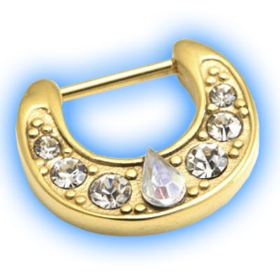 Gold PVD Teardrop Jewelled Septum Clicker