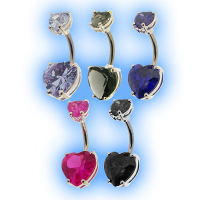 Elegance Belly Bar - Double Heart