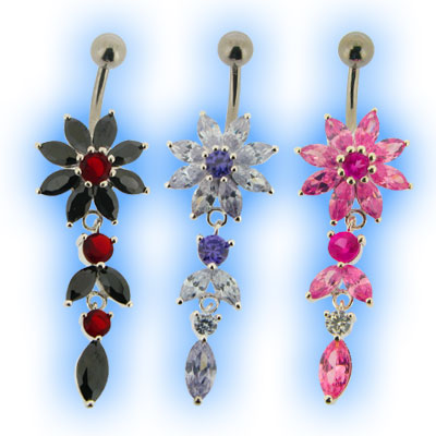Elegance Belly Bar - Sunflower Dangly
