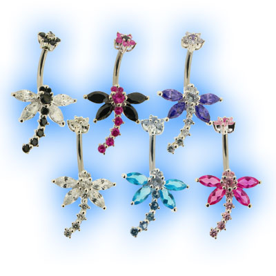 Elegance Belly Bar - Dragonfly with Daisy Top