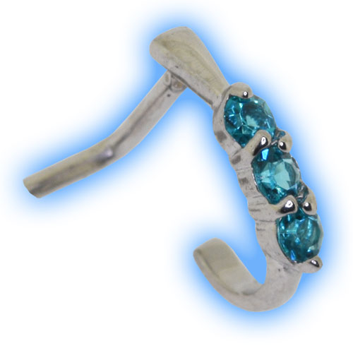 Nose Curve with Ornate Gem Trio - Blue Zircon