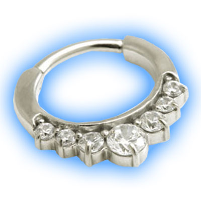Small Jewelled Hinged Septum Ring