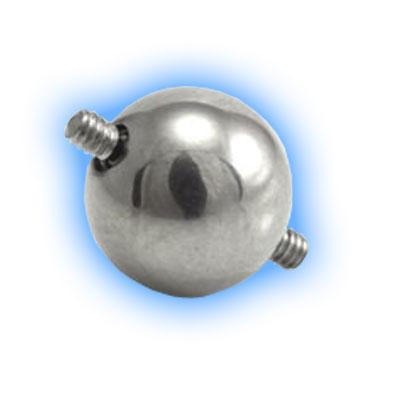 Internally Threaded Ball for Double Piercings - 1.6mm (14 gauge)