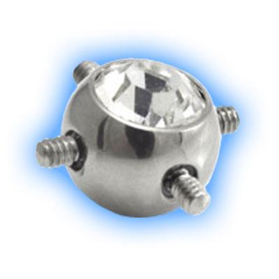 Internally Threaded Gem Ball for Multiple Piercings - 1.6mm (14 gauge)