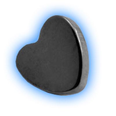 Black PVD Internally Threaded Heart - 1.6mm (14 gauge)
