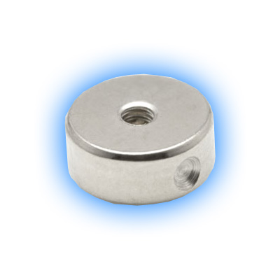 Clip in Titanium Flat Back Disc for BCR with hole for attachments