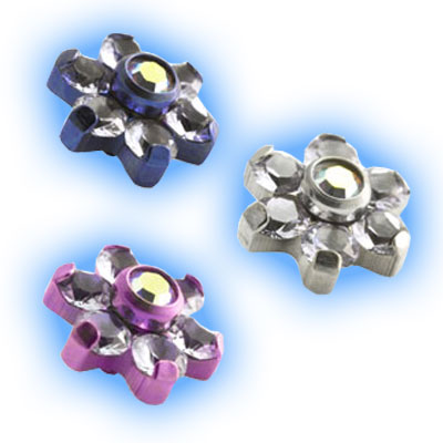 1.2mm (16g) Titanium Internally Threaded Lilac Flower