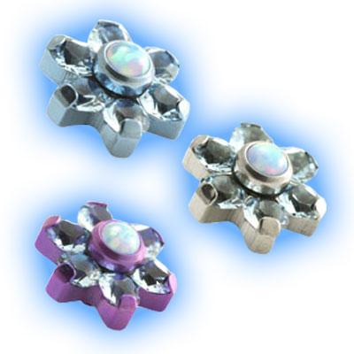 Internally Threaded Flower in Aqua and Opal - 1.6mm (14g)