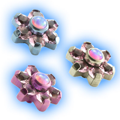 Internally Threaded Flower in Pink and Opal - 1.2mm (16g)