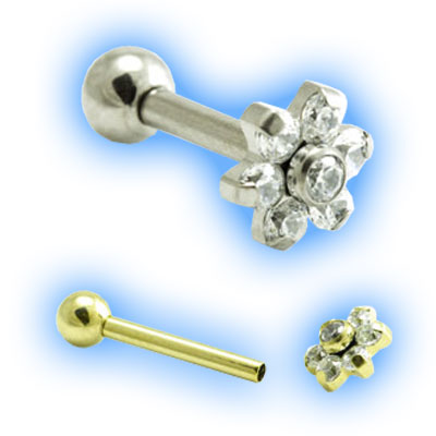 1.2mm (16g) Titanium Internally Threaded Micro Barbell with Gem Flower and Ball