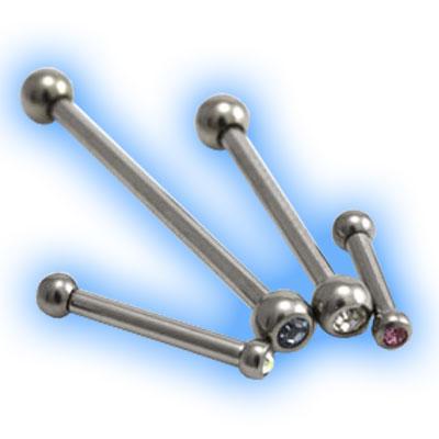 Titanium Internal Barbell with Jewelled Ball - 1.2mm (16G)