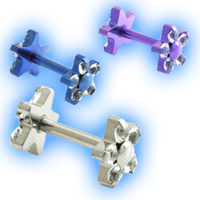 1.2mm (16g) Titanium Internally Threaded Micro Barbell with Double 5 Petal Flowers